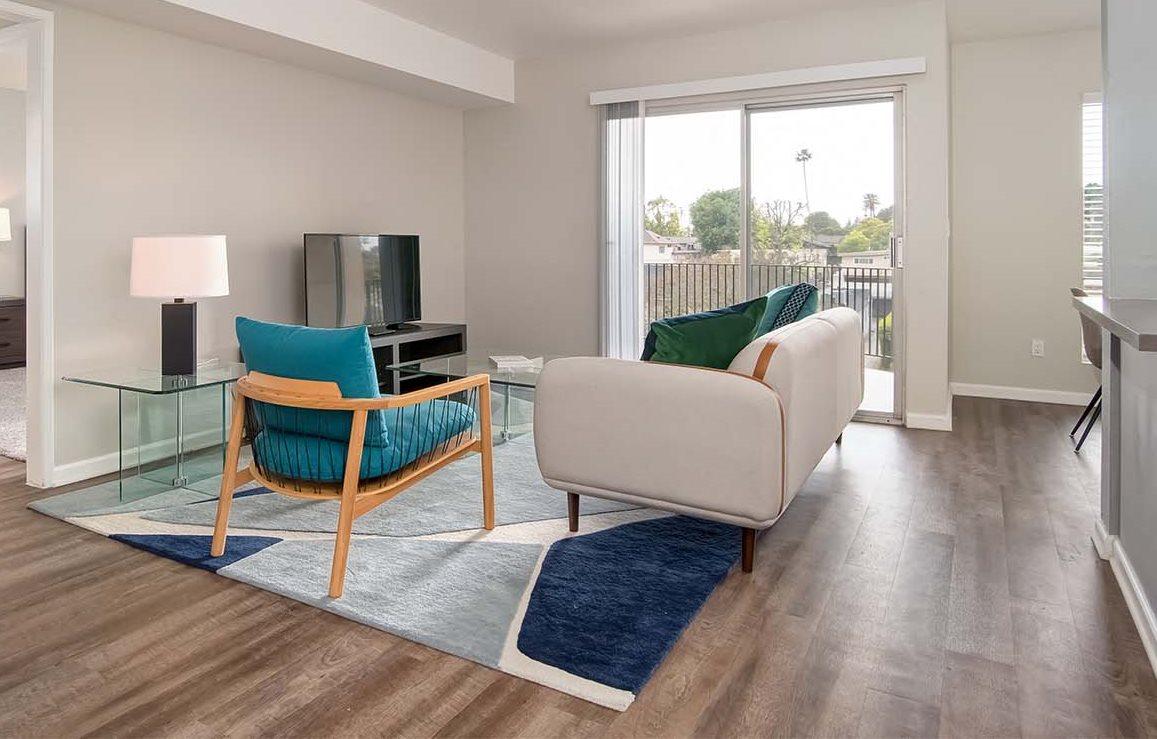 Sofa In Living Room at Los Robles Apartments, Pasadena, CA, 91101