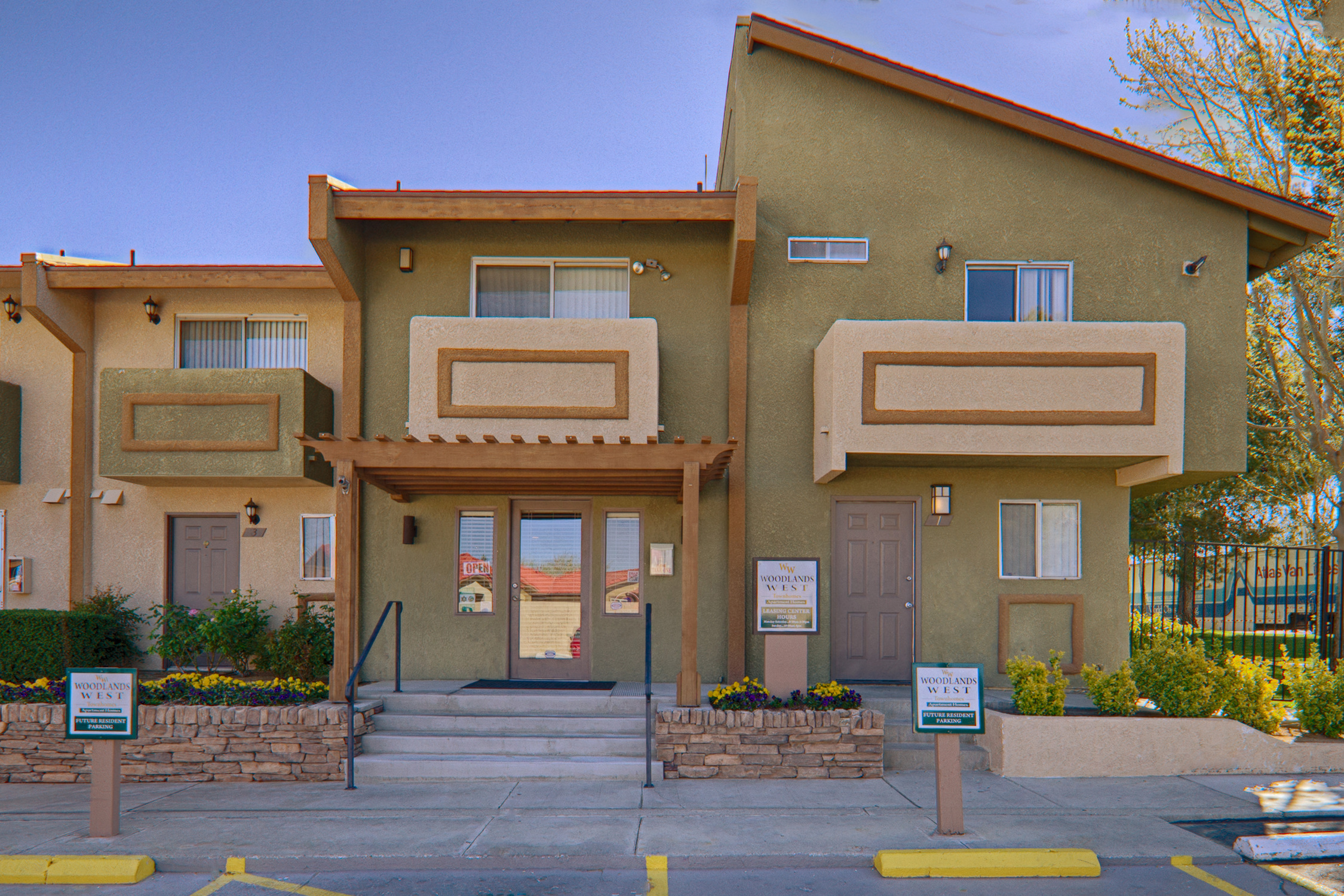 Leasing office at Woodlands West Townhomes, Lancaster, CA