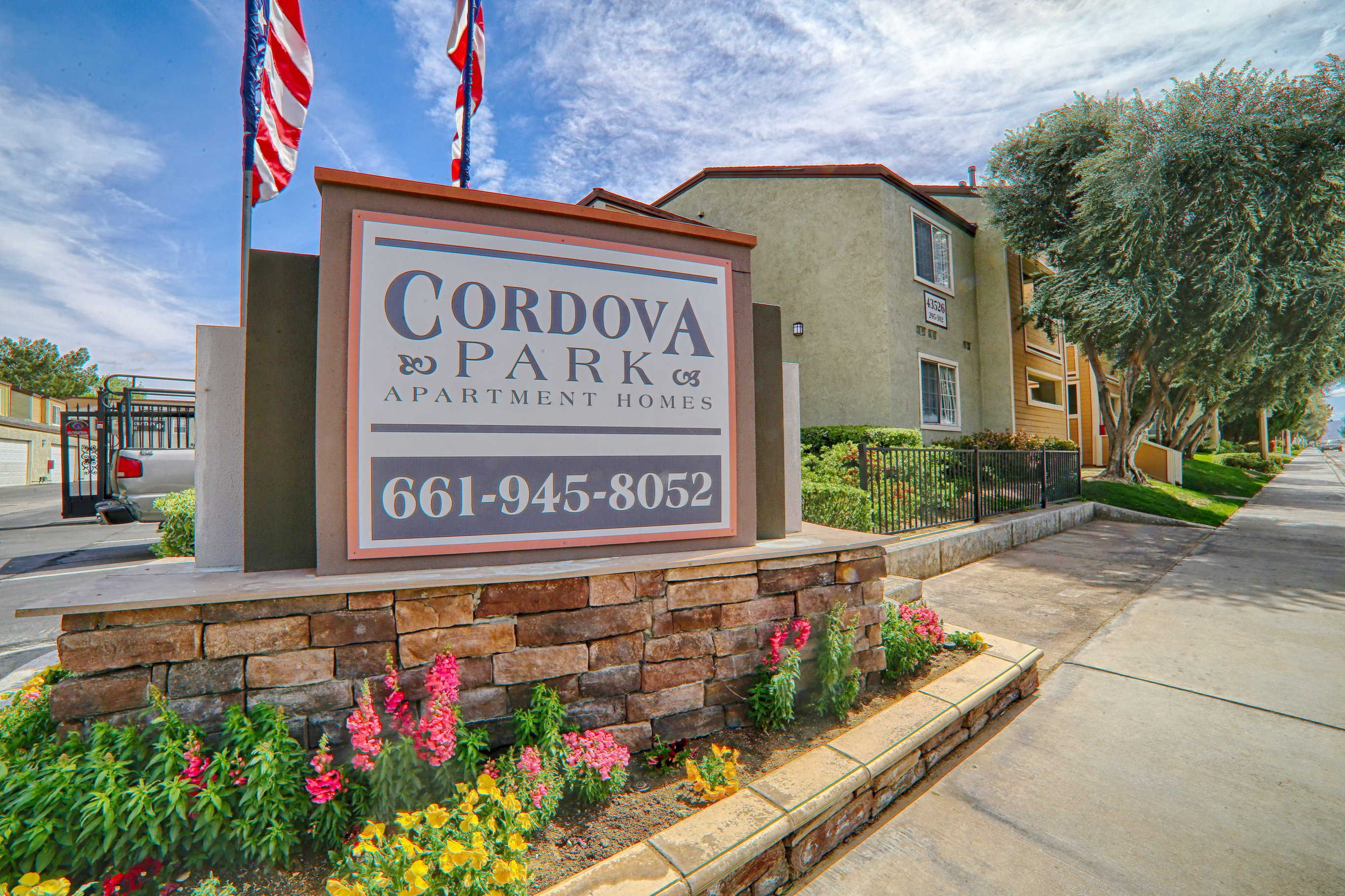 Front Signage View at Cordova Park Apartment Homes, Lancaster