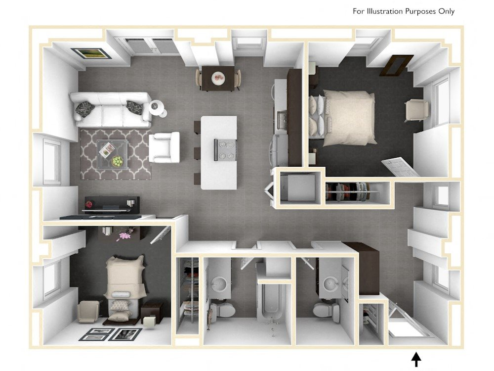 Two Bedroom Floor Plan 3