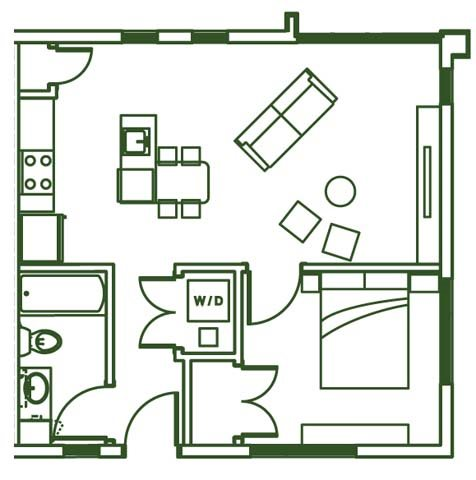 ONE BEDROOMS Floor Plan 2