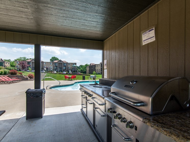 BBQ grills at The Hills Apartments in North Kansas City, MO