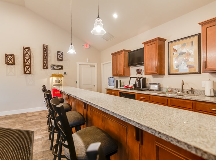 Coffee station and breakfast bar at The Hills Apartments in North Kansas City, MO