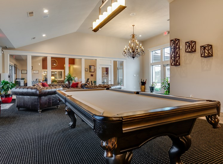 Pool table in clubhouse at The Hills Apartments in North Kansas City, MO