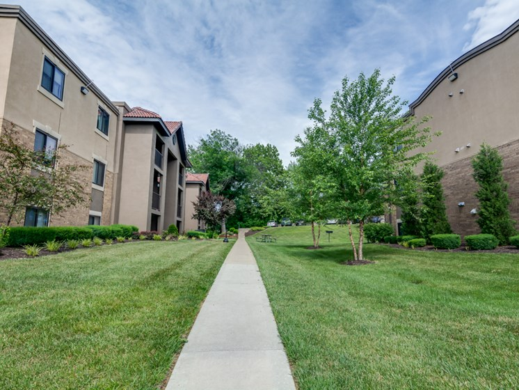 Walking sidewalks at The Hills Apartments in North Kansas City, MO