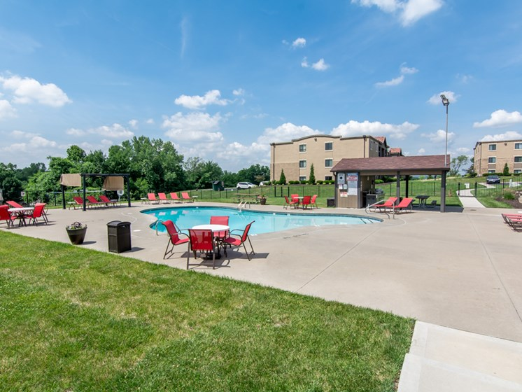 Sundeck by pool at The Hills Apartments in North Kansas City, MO