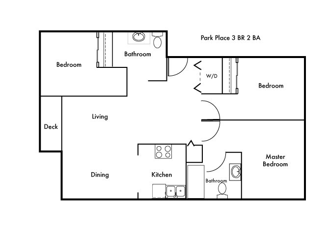 3 Bedroom, 2 Bath Floor Plan 2