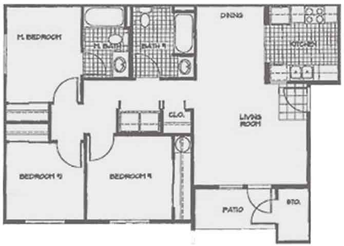3 Bedroom, 2 Bath Floor Plan 3
