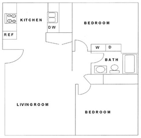 2 Bedroom, 1 Bath Floor Plan 1