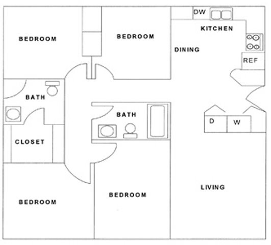 4 Bedroom, 2 Bath Floor Plan 3