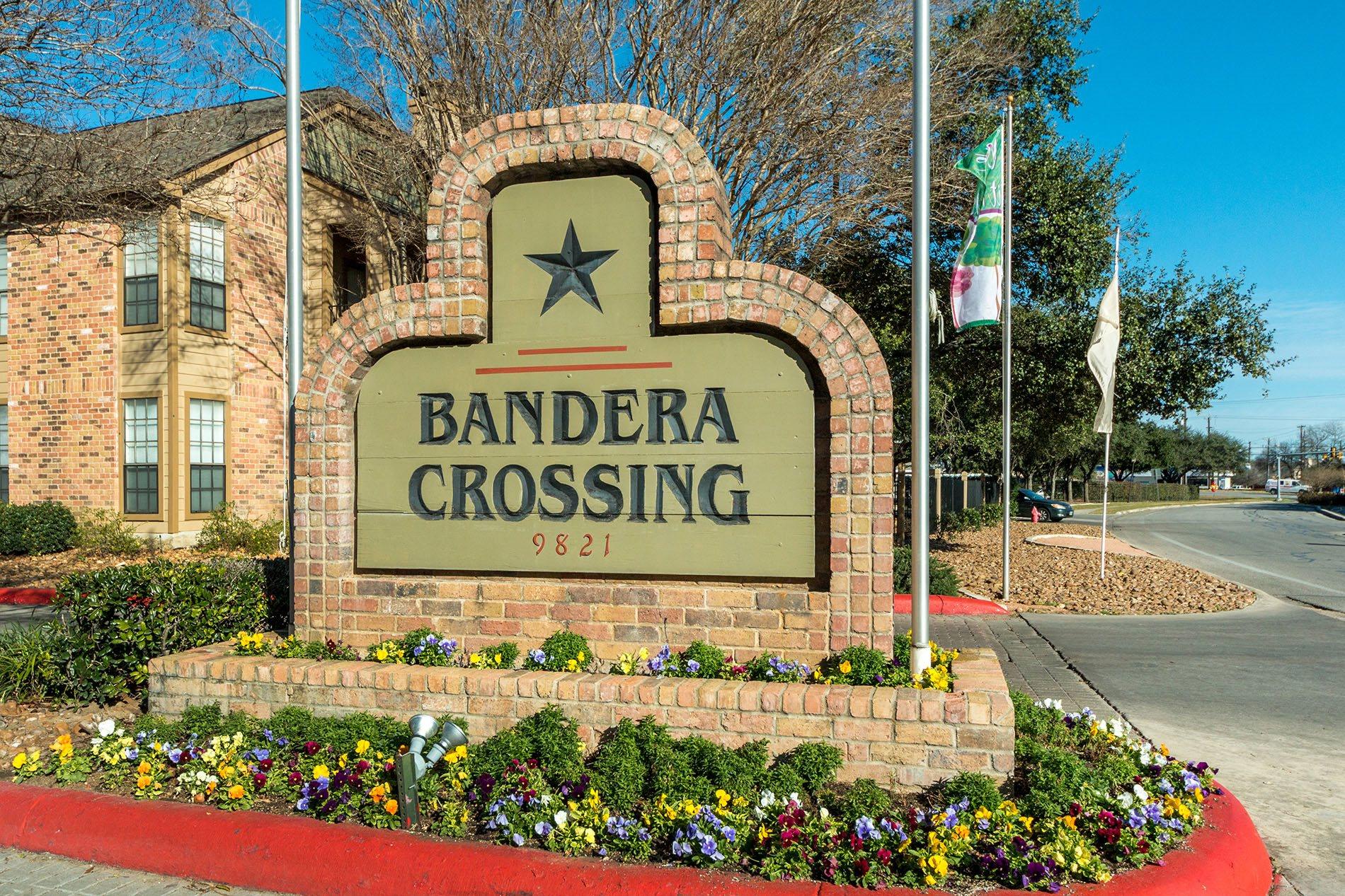 Monument Sign at Bandera Crossing Apartments, San Antonion, Texas, TX