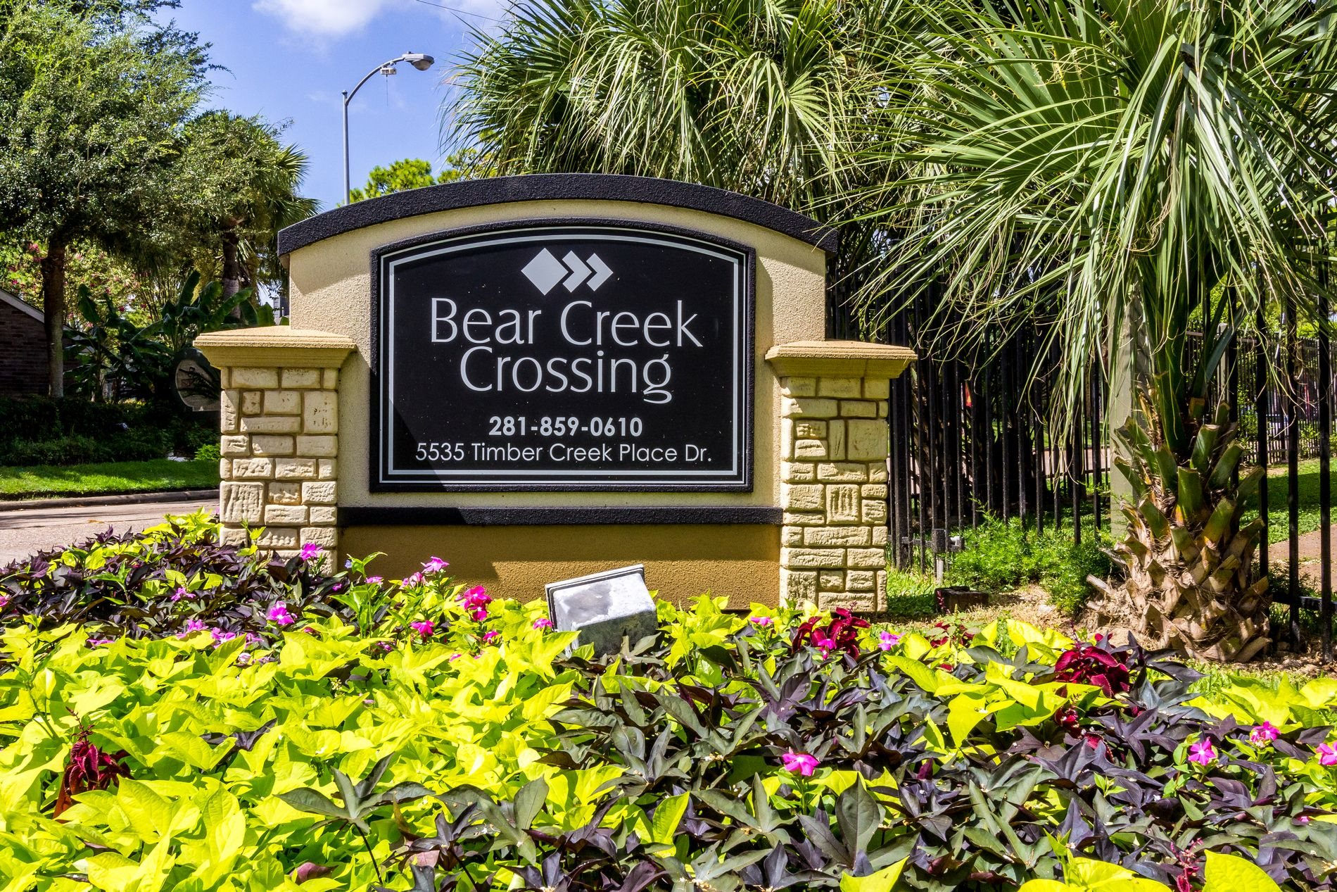 Property Signage at Bear Creek Crossing Apartment Homes in Houston, Texas, TX