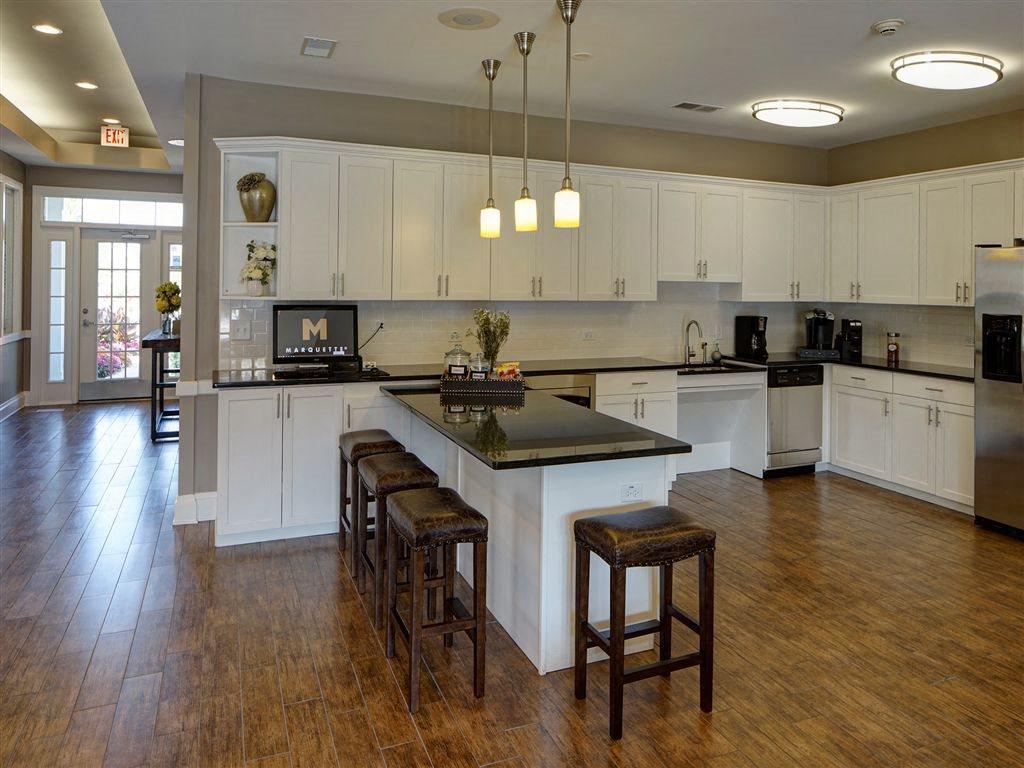 Community Kitchen and Hospitality Station at Farmington Lakes Apartments Homes, Oswego, IL, 60543
