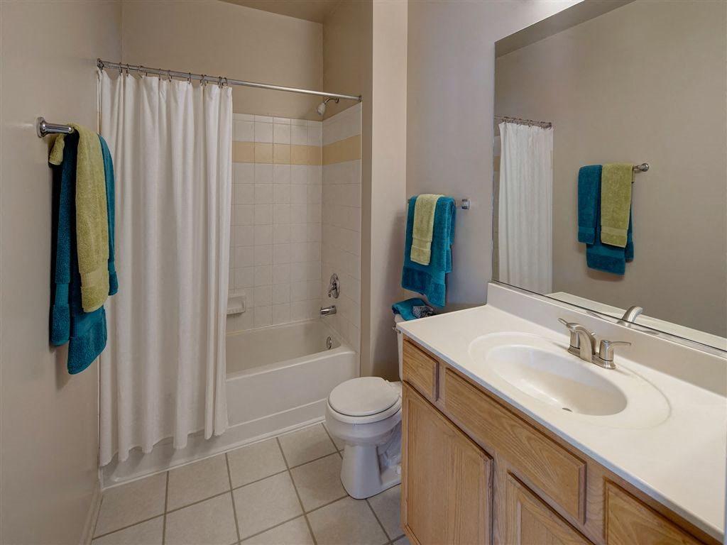Spacious Bathrooms featuring Extra Counter Space at Farmington Lakes Apartments Homes, Oswego, IL, 60543