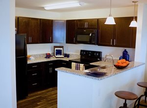 Gourment Kitchens with sleek black appliances, granite counters, & modern chrome fixtures