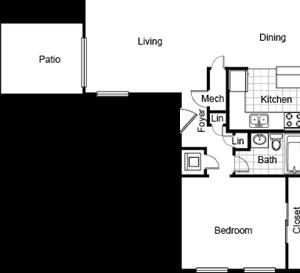 1 bedroom/ 1bath floorplan