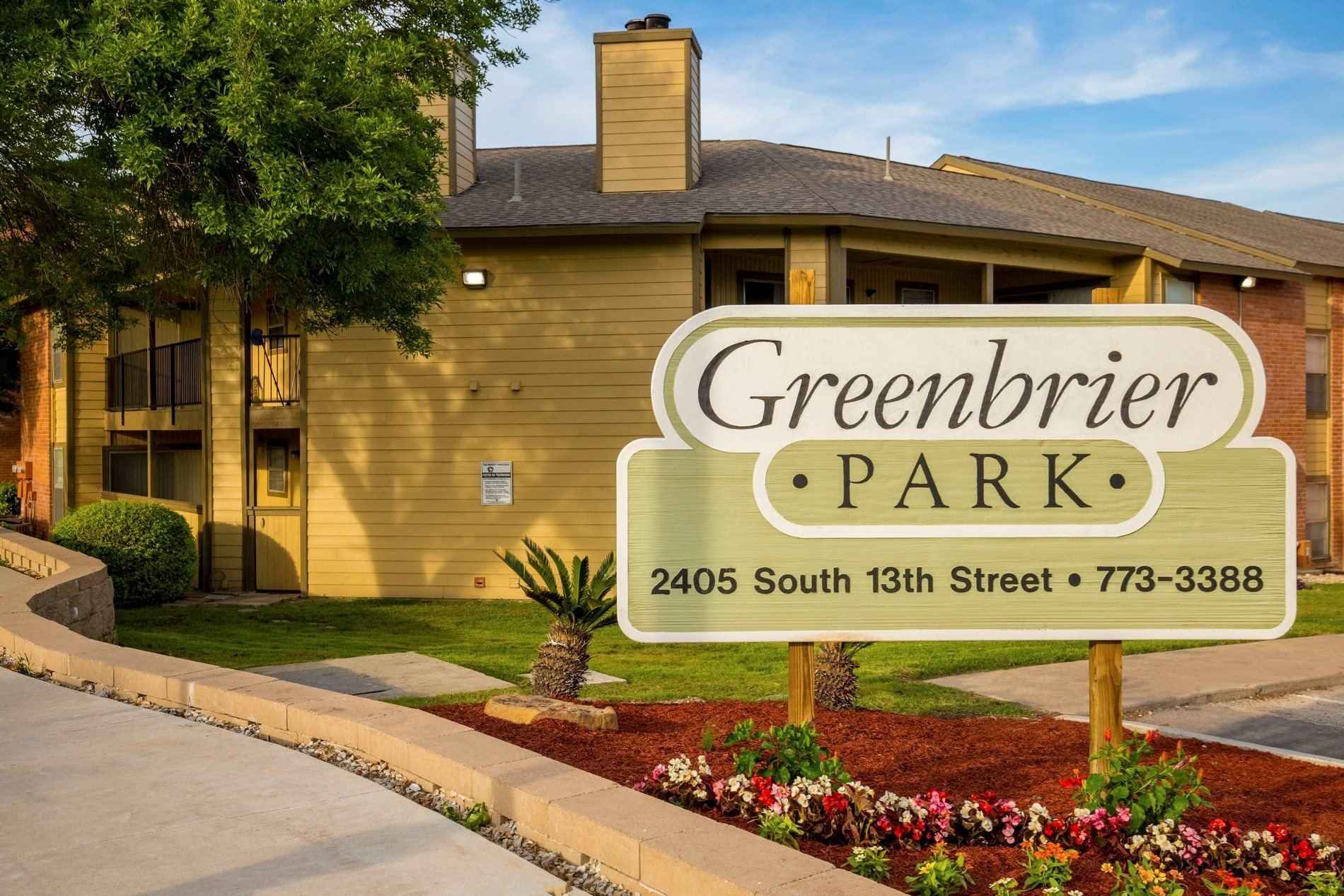 Entrance Signage at Greenbrier Park Apartment Homes in Temple, Texas, TX