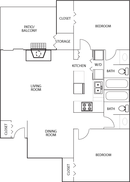 Floor Plan D at Heritage Square Apartment Homes, Waco, Texas, TX
