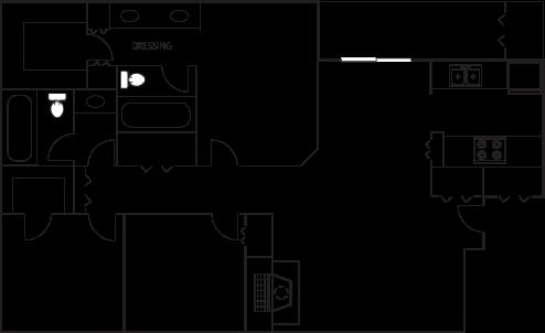 Floor Plan E at Heritage Square Apartment Homes, Waco, Texas, TX