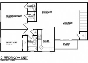 2 BR 1,096 sq.ft.