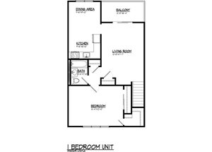 1 BR 763 sq.ft.