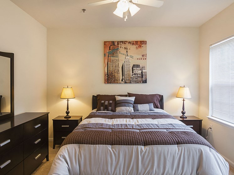 Furnished Master Bedroom at Ultris Courthouse Square Apartments in Stafford, Virginia, VA