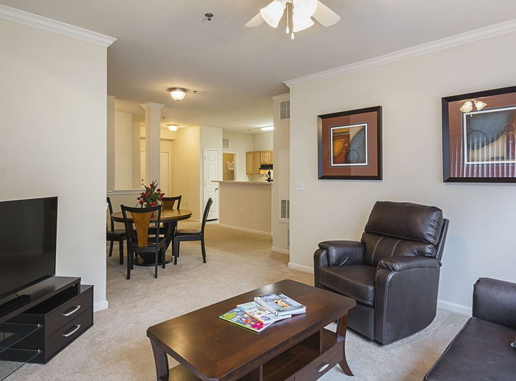 Furnished Living Room at Ultris Courthouse Square Apartments in Stafford, Virginia, VA