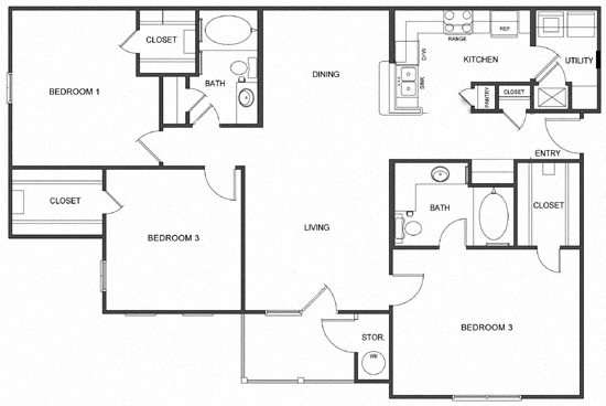 C1 (Traditional) Floorplan at Ultris Island Park