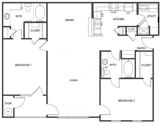 B2 (Corporate/Furnished) Floorplan at Ultris Island Park