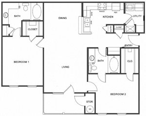 B1 (Corporate/Furnished) Floorplan at Ultris Island Park