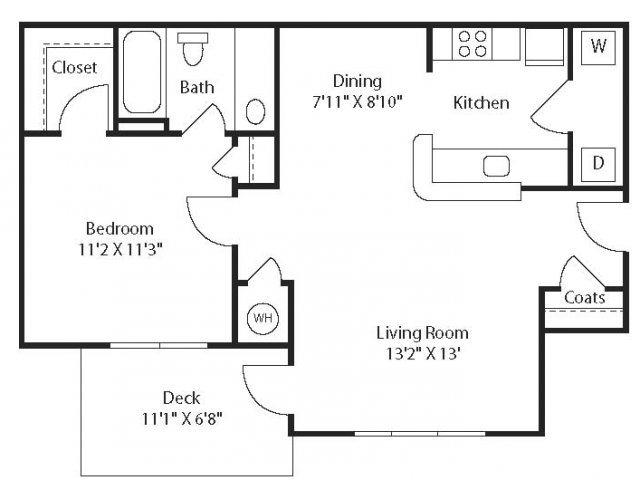 (A1R) Renovated One Bedroom/One Bathroom Floor Plan 2