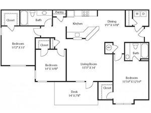 (C1) Three Bedrooms/Two Bathrooms
