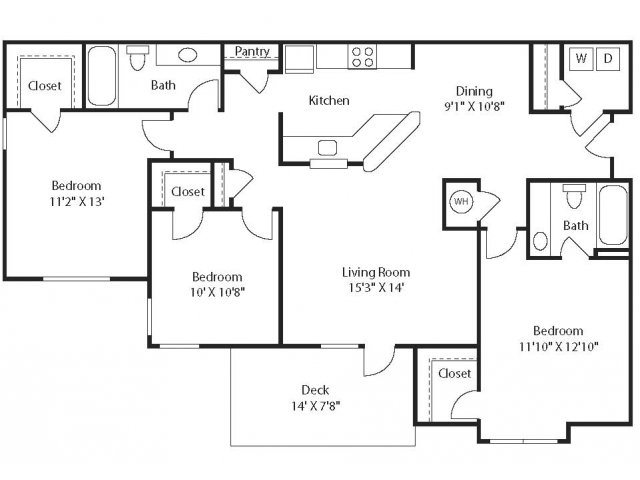 (C1) Three Bedrooms/Two Bathrooms Floor Plan 9