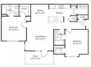 (B2) Two Bedrooms/Two Bathrooms