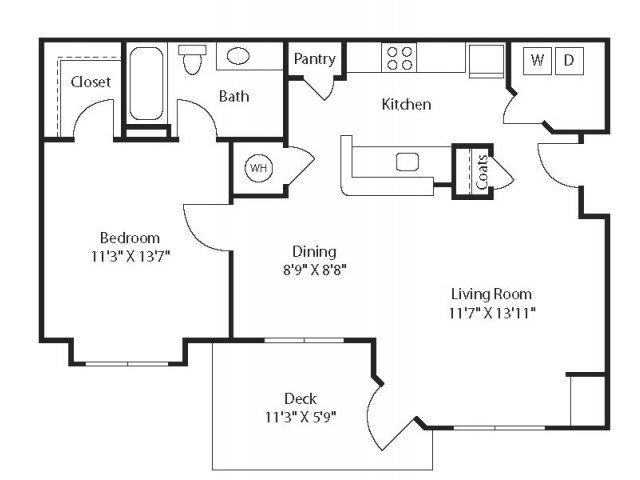 (A2) One Bedroom/One Bathroom Floor Plan 3