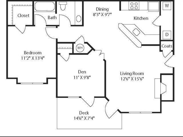 (B1) Two Bedrooms/One Bathroom Floor Plan 5