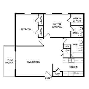 Floor Plan B at Laurel Parc Apartments in Shreveport, Louisiana, LA