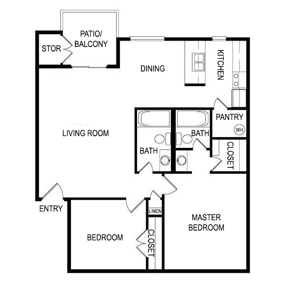 Floor Plan K at Laurel Parc Apartments in Shreveport, Louisiana, LA