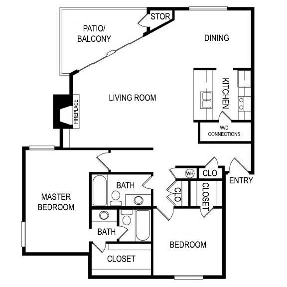 Floor Plan L at Laurel Parc Apartments in Shreveport, Louisiana, LA