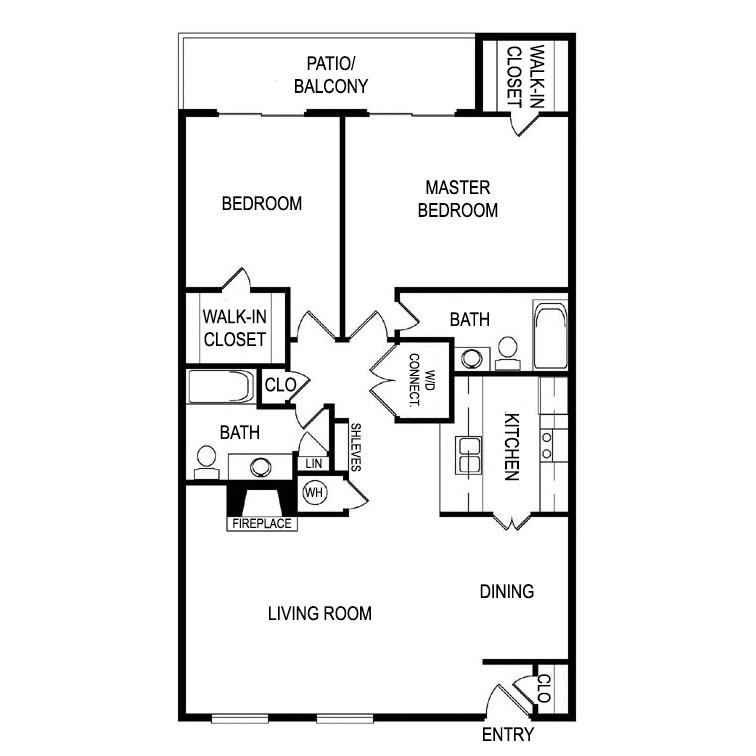Floor Plan Q at Laurel Parc Apartments in Shreveport, Louisiana, LA