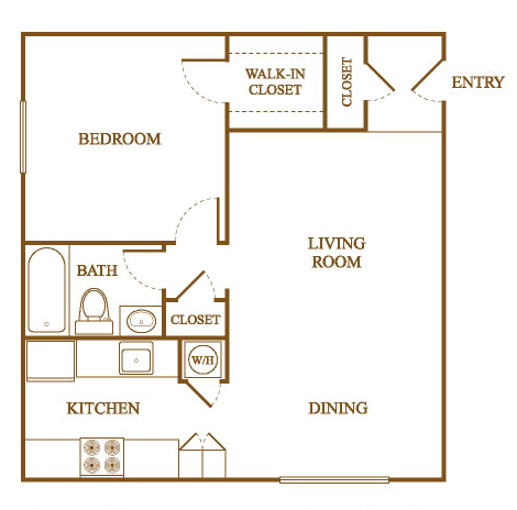 A1 Floor Plan at Orleans Square Apartments in Shreveport, Louisiana, LA