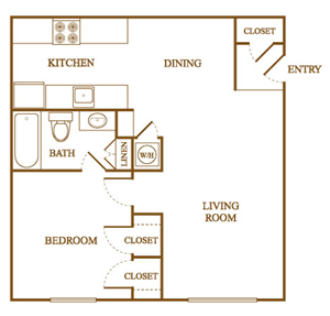A2 Floor Plan at Orleans Square Apartments in Shreveport, Louisiana, LA
