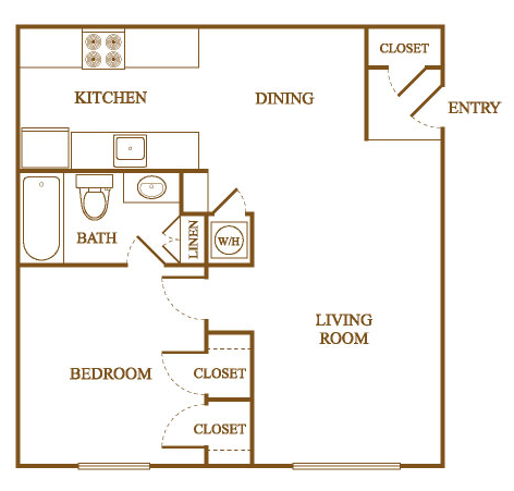 Gentil A2 Floor Plan At Orleans Square Apartments In Shreveport, Louisiana, LA