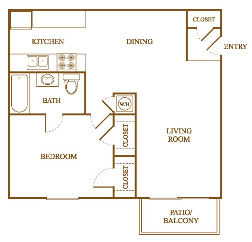 A3 Floor Plan at Orleans Square Apartments in Shreveport, Louisiana, LA