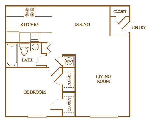A6 Floor Plan at Orleans Square Apartments in Shreveport, Louisiana, LA
