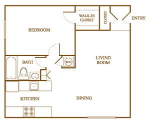 A5 Floor Plan at Orleans Square Apartments in Shreveport, Louisiana, LA