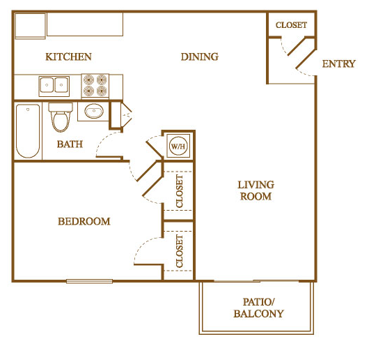 A4 Floor Plan at Orleans Square Apartments in Shreveport, Louisiana, LA