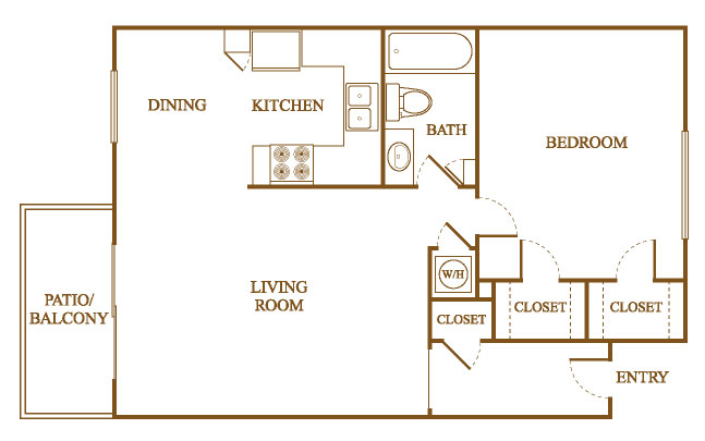 A7 Floor Plan at Orleans Square Apartments in Shreveport, Louisiana, LA