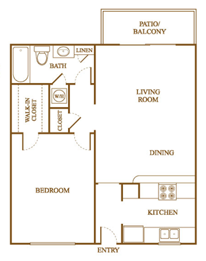 A8 Floor Plan at Orleans Square Apartments in Shreveport, Louisiana, LA