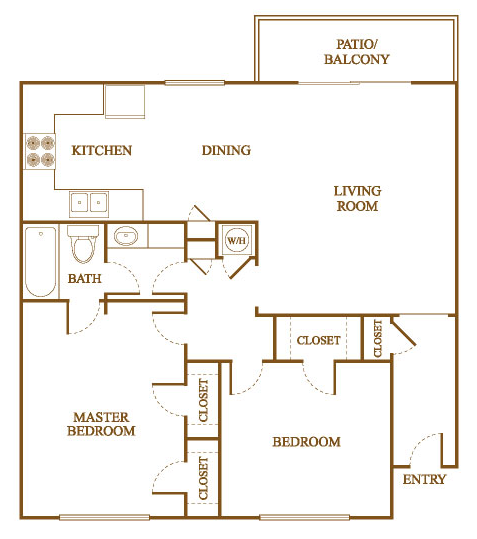 B1 Floor Plan At Orleans Square Apartments In Shreveport, Louisiana, LA